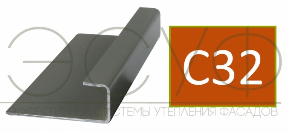 Соединительный профиль алюминиевый 3 м 45/15/8 C01 Cedral C32 Бурая земля